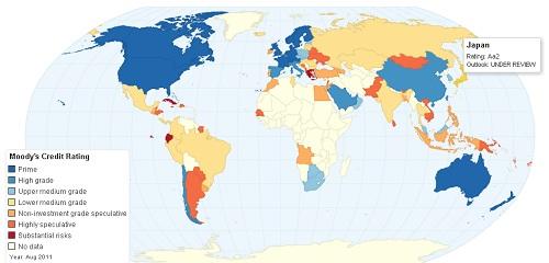 ムーディーズ格付け世界地図
