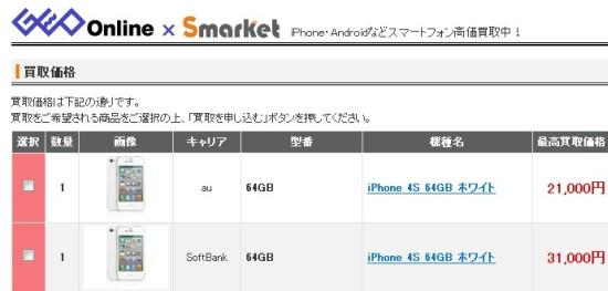 iPhone4s買取金額
