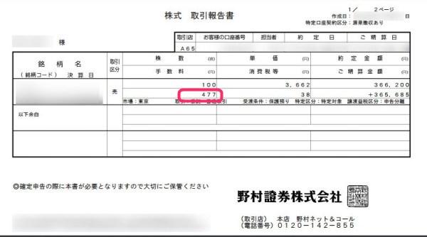 野村ネット&コールで持株会の株を売却した時の手数料