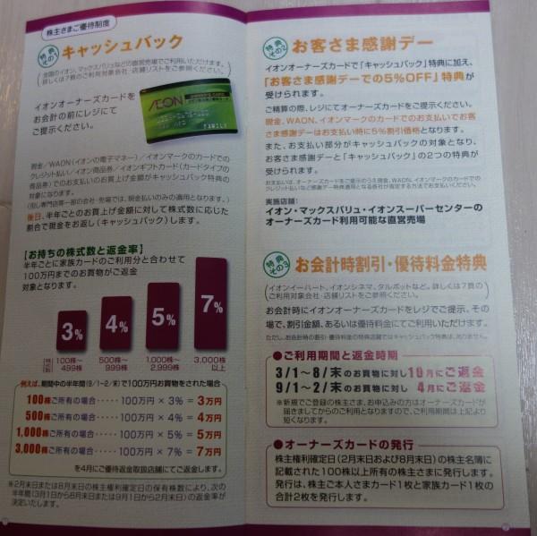 イオン株主優待カードのキャッシュバック率